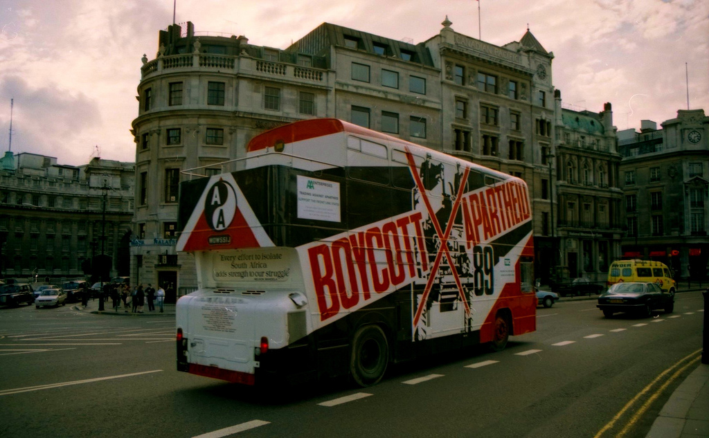 Bus with Anti-Apartheid Ad