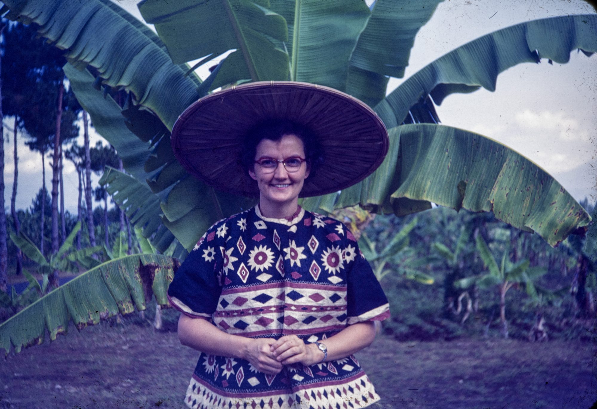 Catherine Walker wears Selebes clothes in Bandung, Indonesia, in 1953.